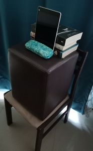 152 Tablet on makeshift side stand